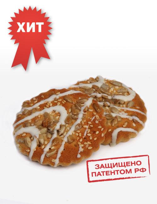 """Печенье сахарное """"Русский десерт"""" с семенами кунжута и подсолнечника, декорированное белой глазурью"""