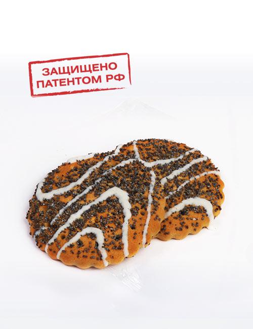 Печенье сахарное «Русский десерт» с маком, декорированное белой кондитерской глазурью