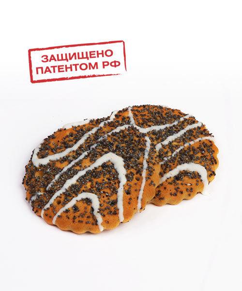 """Печенье сахарное """"Русский десерт"""" с маком, декорированное белой кондитерской глазурью"""