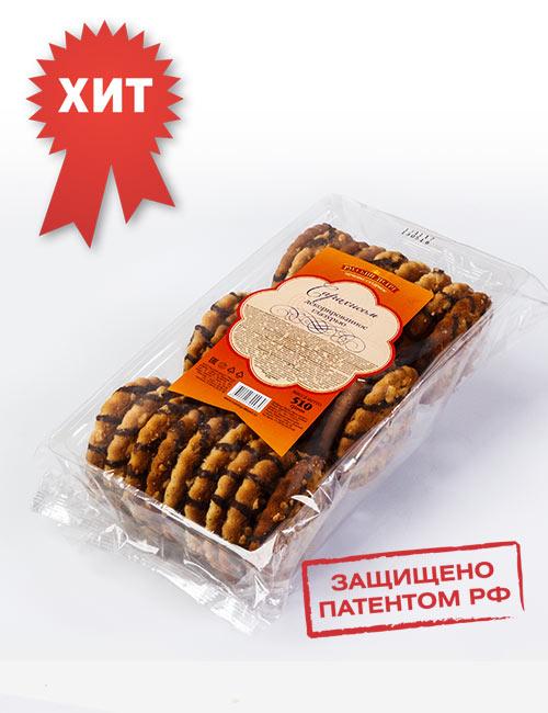 Печенье сахарное «Русский десерт» с семенами кунжута и подсолнечника , декорированное белой кондитерской глазурью 510 гр