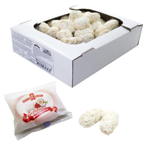 Воздушные зерна риса в белой глазури с кокосовой стружкой